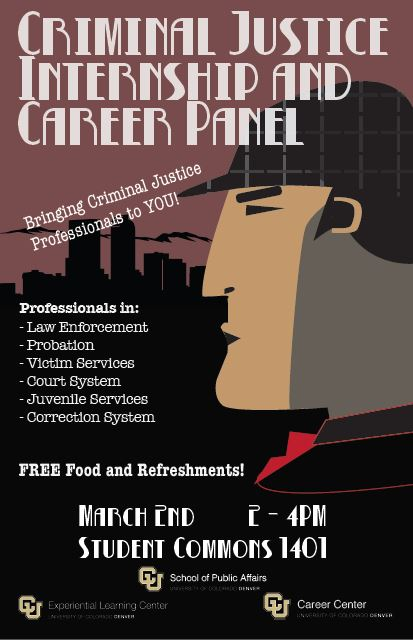 Poster for Criminal Justice career panel