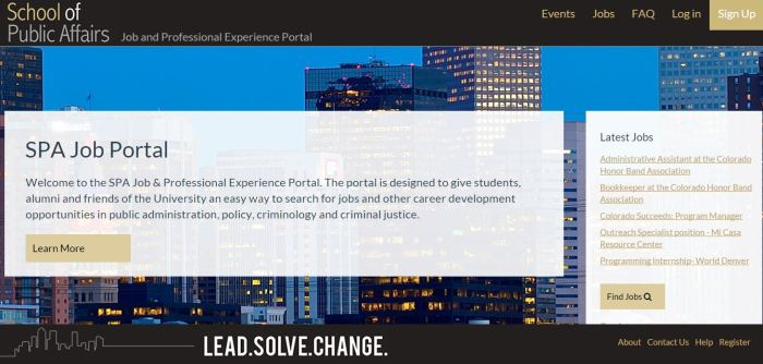 Screen grab of job portal website home page