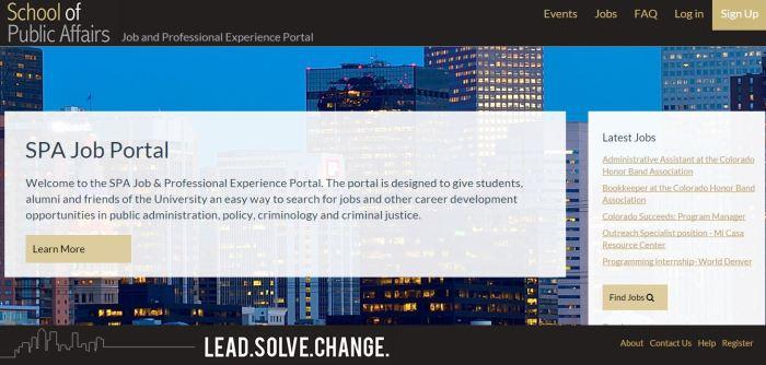 Screen grab of job portal website home page