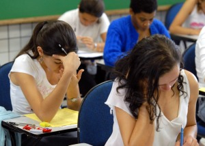 Photo of students taking test