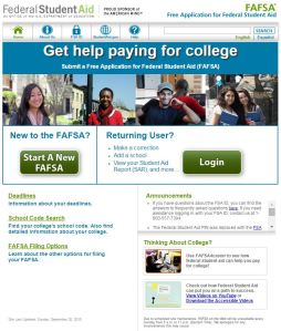 Screen shot of FAFSA website