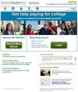 Screen shot of FAFSA website