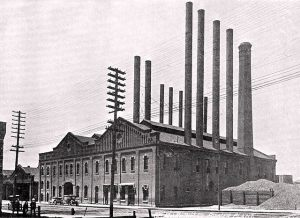Photo of Arkansas Valley Railway Light and Power Co power plant in Pueblo CO 1913