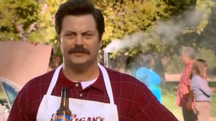 Ron Swanson grilling